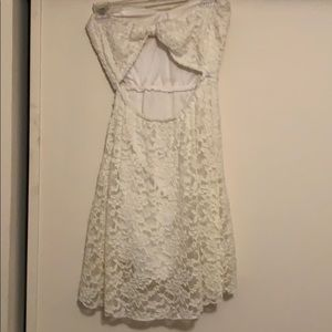 Poetry Dresses - White Strapless Short Lace Dress
